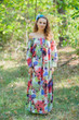 """Serene Strapless"" kaftan in Flamingo Watercolor pattern"