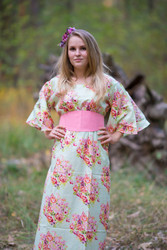 """""""Beauty, Belt and Beyond"""" kaftan in Floral Posy"""