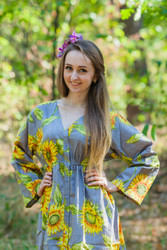 """Button me down"" kaftan in Sunflower pattern"