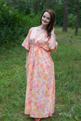 """Timeless"" kaftan in Ombre Fading Leaves pattern"