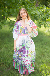 """Breezy Bohemian"" kaftan in Floral Watercolor Painting pattern"