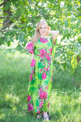 """""""Divinely Simple"""" kaftan in Large Fuchsia Floral Blossom pattern"""