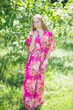 """""""Best of both the worlds"""" kaftan in Rosy Red Posy pattern"""