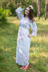 """Button me down"" kaftan in Cherry Blossoms pattern"