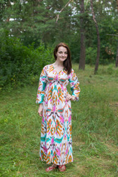"""Button me down"" kaftan in Ikat Aztec pattern"