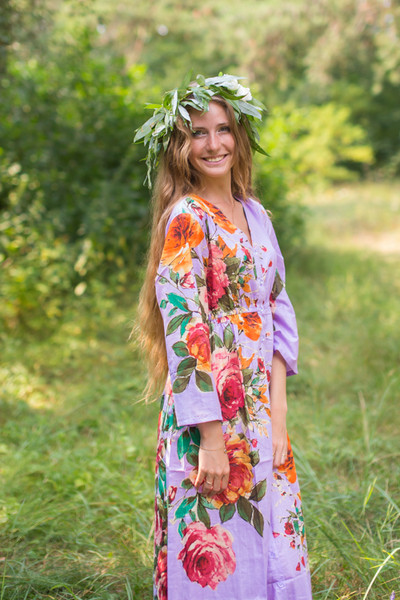 """Button me down"" kaftan in Large Floral Blossom pattern"