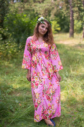 """""""Button me down"""" kaftan in Rosy Red Posy pattern"""