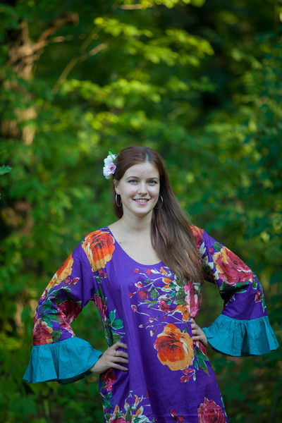 """Frill lovers"" kaftan in Large Floral Blossom pattern"