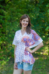 """Timeless"" kaftan Top in Abstract Floral pattern"