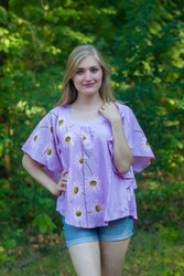 """Summer Celebration"" kaftan Top in Falling Daisies pattern"