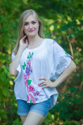 """Summer Celebration"" kaftan Top in Swirly Floral Vine pattern"