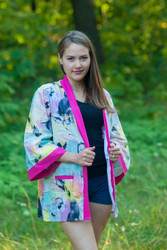 """Street Style"" Kimono jacket in Flamingo Watercolor pattern"