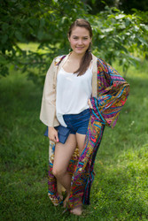 """Boho-Chic"" Kimono jacket in Cheerful Paisleys pattern"
