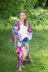 """Boho-Chic"" Kimono jacket in Floral Watercolor Painting pattern"