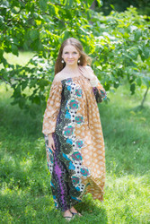 """Serene Strapless"" kaftan in Floral Bordered pattern"