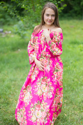 """Serene Strapless"" kaftan in Floral Rosy Red Posy pattern"