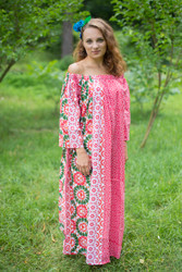 """Serene Strapless"" kaftan in Floral Round and Round pattern"