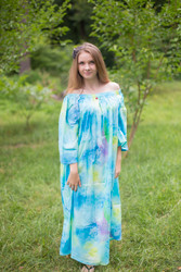 """Serene Strapless"" kaftan in Floral Watercolor Splash pattern"