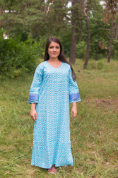 """The Unwind"" kaftan in Geometric Chevron pattern"