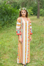 """The Unwind"" kaftan in Aztec Geometric pattern"