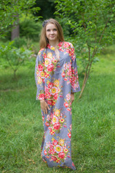 """Mandarin On My Mind"" kaftan in Rosy Red Posy pattern"
