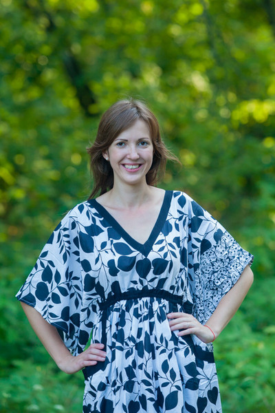"""Breezy Bohemian"" kaftan in Classic White Black pattern"