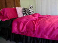 Satin Bedding Hot Pink Satin Duvet Cover Set