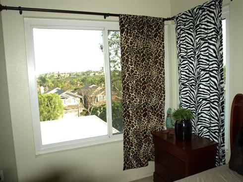 Giraffe Print Curtain Panel Left Zebra Right