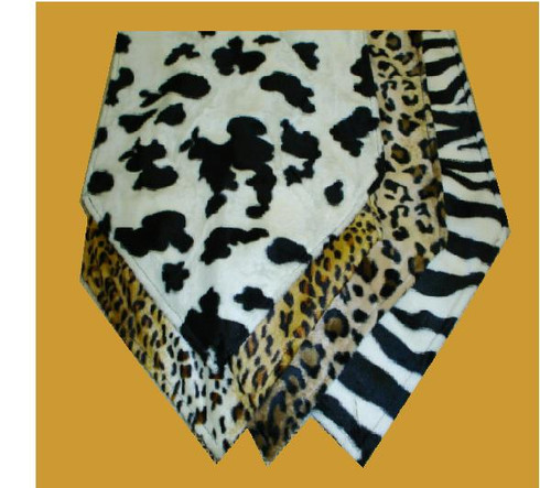 Animal Print Table Runner front to back cow print, cheetah print, leopard print brown, zebra print