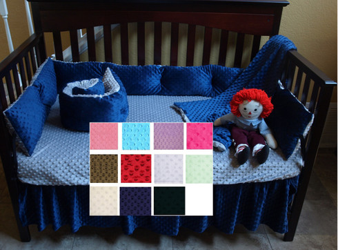 Shown in picture solid crib bedding grey and navy blue minky dot