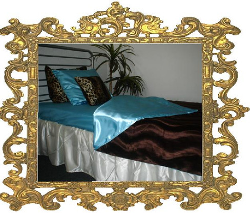 Satin Bed Skirt shown here is champagne