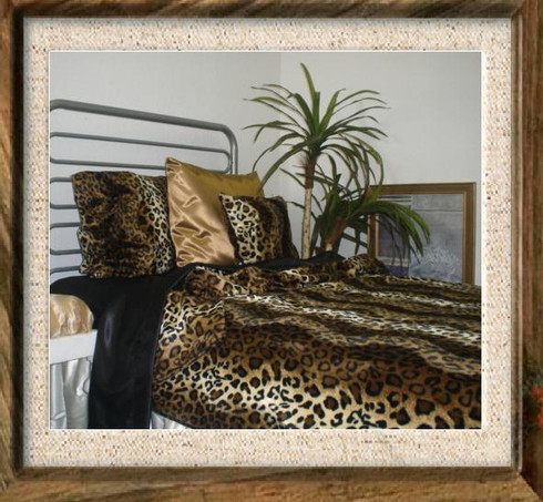 Leopard Print Brown Bedding Set (short pile faux fur) Duvet Cover or Coverlet/Bedspread