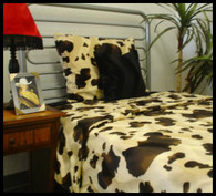 Brown Cow Bedding Set brown spots, cream/tan background