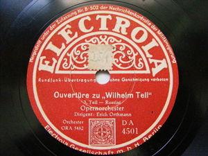 ERICH ORTMANN Electrola 4500 2x78 ROSSINI Overture WILHELM TELL