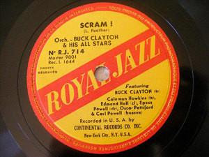 CLAYTON & HAWKINS Royal Jazz 714 78 SCRAM! / THANKS FOR THE MEMORY