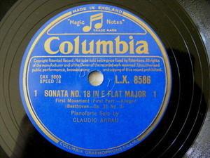 CLAUDIO ARRAU Columbia 8586 PIANO 3x78 Set Sonata N.18