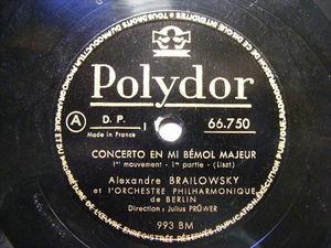 ALEXANDER BRAILOWSKY Polydor 66750 PIANO 3x78 Set LISZT Concerto NM-