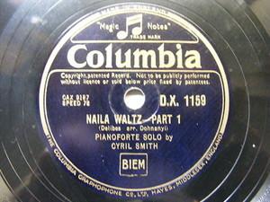 CYRIL SMITH Columbia 1159 PIANO 78 DELIBES NAila Waltz