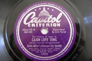 EDDIE MILLER CRECENT CCITY QTET Capitol 10023 JAZZ 78 CAJUN LOVE SONG / CRAWFISH