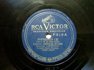 E. WILNER LOS ASTROS Private VICTOR ARGENTINA Jewish 78 PARTIZANER LID / HATIKWA Radio Leon