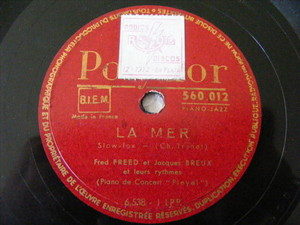 FRED FREED Polydor 560012 FRENCH 78 LA MER / DOUCE FRANCE