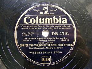 GOEHR / WIESMEYER adn STEIN Columbia 1791 78rpm HABA Duo For 2 VIOLIN SIXTH TONE