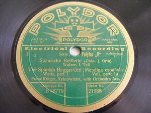FRANZ KRUGER Polydor 21988 XYLOPHON 78 SPANISH BEGGAR