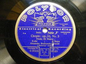 ALEXANDER BRAILOWSKY Polydor 95323 PIANO 78 CHOPIN Op.10, No.3 NM