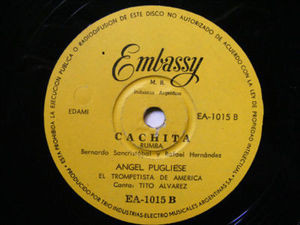 ANGEL PUGLIESE Embassy 1015 LATIN 78rpm PANAMA/CACHITA