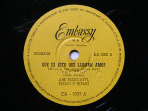 ABEL PIZZICATTI Piano y Ritmo EMBASY 1003 Rare Arg 78