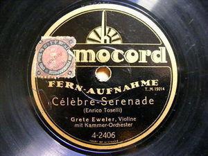 GRETE EWELER Homocord 4-2406 VIOLIN 78 TOSELLI Serenade
