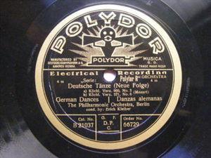 ERICH KLEIBER Polydor 66729 78 IDOMENEO/DEUTSCHE TANZE