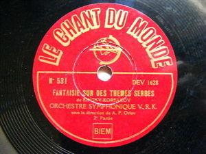 F. ORLOV Chant Du monde 531 78 FANTAISIE SUR DES THEMES