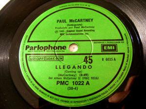"""7"""" WINGS & McCARTNEY Parlophone 1022 Argent 45 LLEGANDO"""